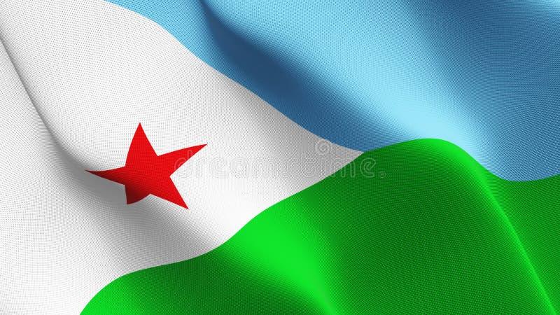Djibouti flaga falowanie na wiatrze royalty ilustracja