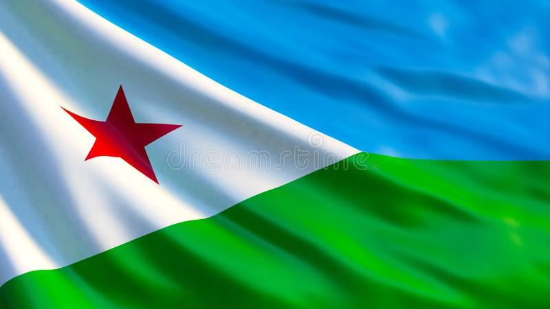 djibouti flaga Machać flagę Djibouti 3d ilustracja ilustracja wektor