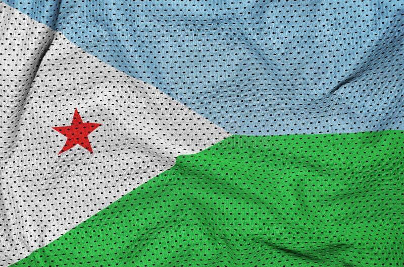 Djibouti flagga som skrivs ut på en fabri för ingrepp för polyesternylonsportswear royaltyfri bild