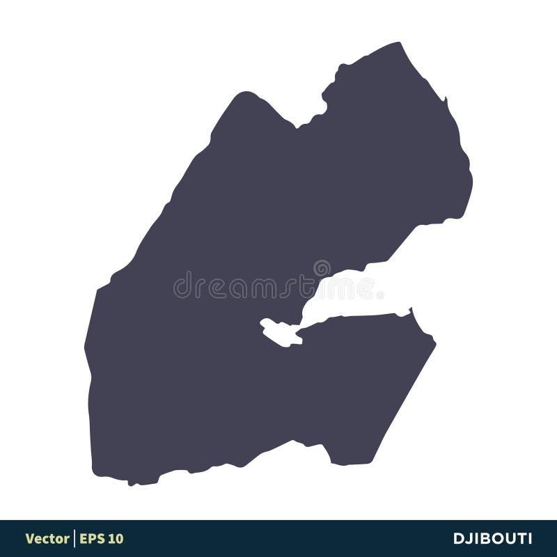 Djibouti - los países de África trazan el vector Logo Template Illustration Design del icono Vector EPS 10 ilustración del vector
