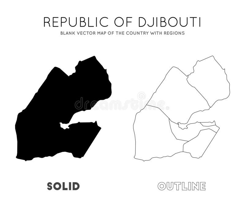 Djibouti map. Blank vector map of the Country with regions. Borders of Djibouti for your infographic. Vector illustration royalty free illustration