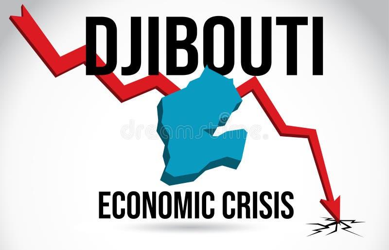 Djibouti Map Financial Crisis Economic Collapse Market Crash Global Meltdown Vector. Illustration vector illustration