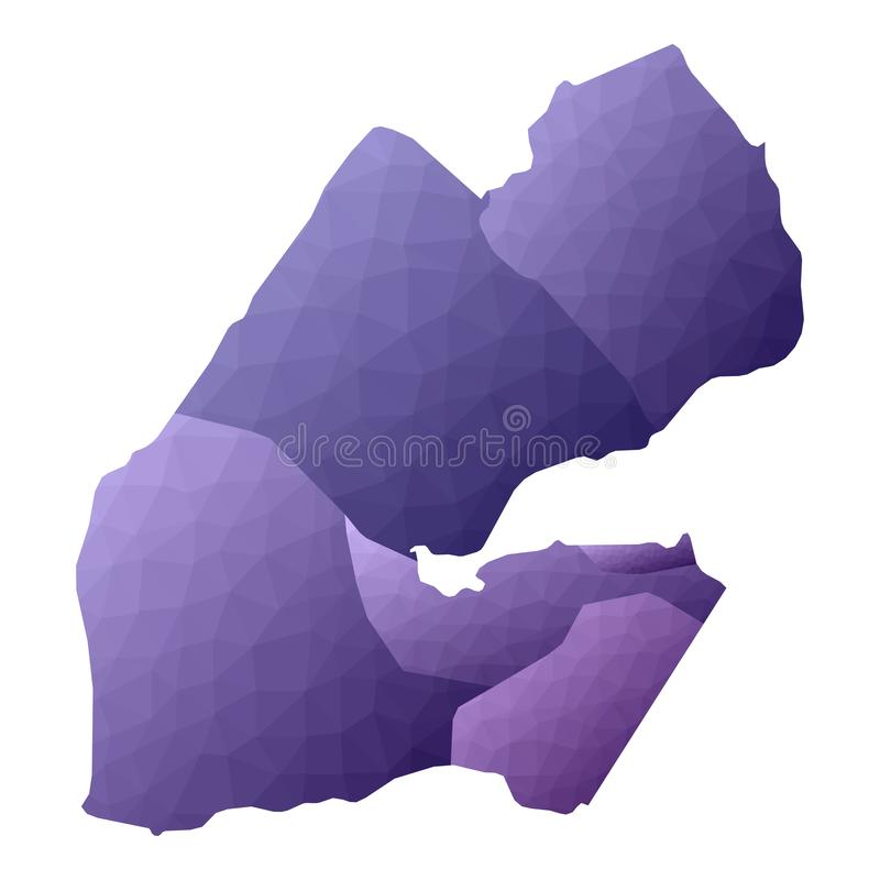 Djibouti map. Geometric style country outline. Flawless violet vector illustration vector illustration