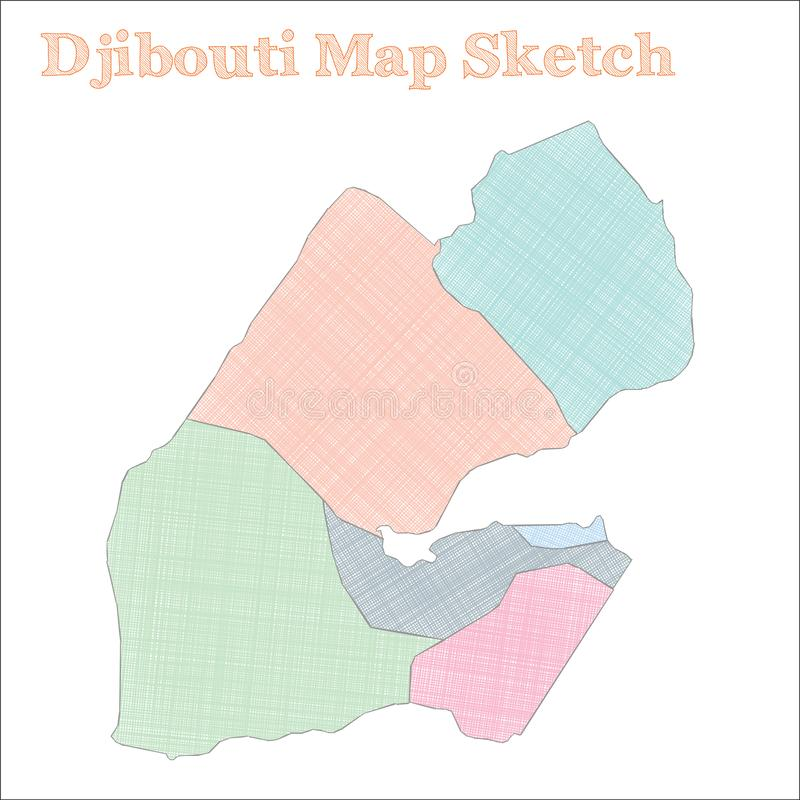 Djibouti map. Hand-drawn country. Exceptional sketchy Djibouti map with regions. Vector illustration royalty free illustration
