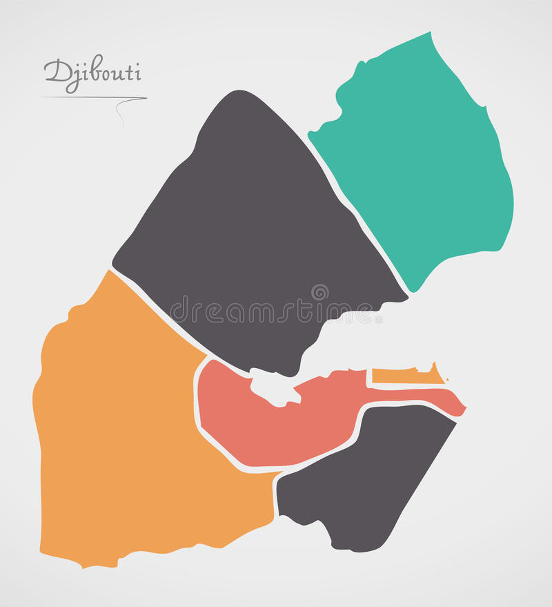 Djibouti Map with states and modern round shapes. Illustration vector illustration