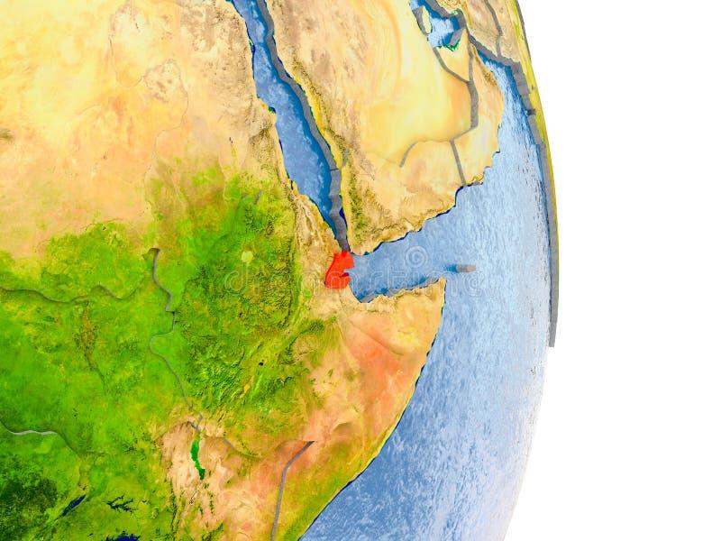 Djibouti na realistycznej kuli ziemskiej ilustracji