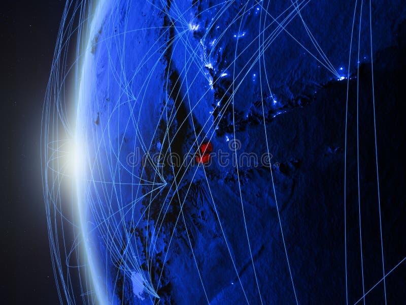 Djibouti op blauwe Aarde met netwerk vector illustratie