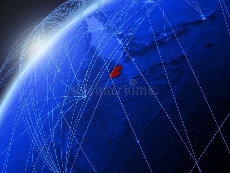 Djibouti op blauwe Aarde met netwerk stock illustratie