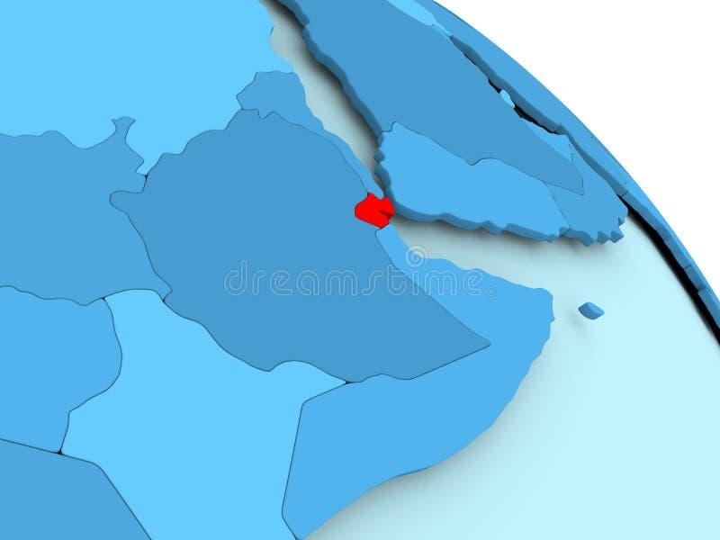 Djibouti op blauwe bol stock illustratie