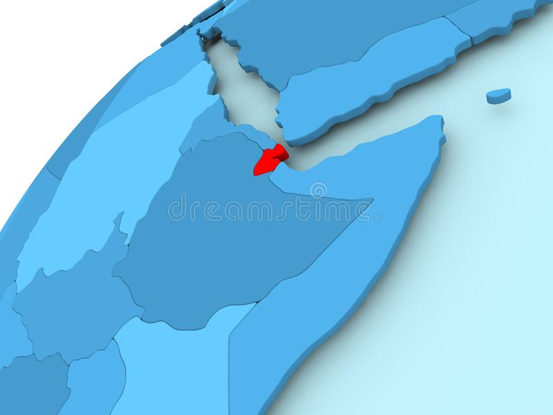 Djibouti op blauwe bol vector illustratie