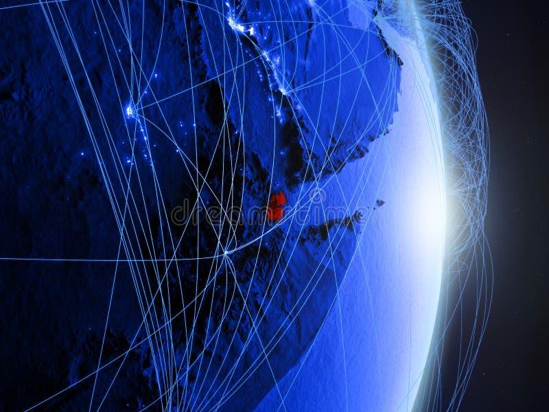 Djibouti op blauwe blauwe digitale Aarde royalty-vrije stock afbeeldingen