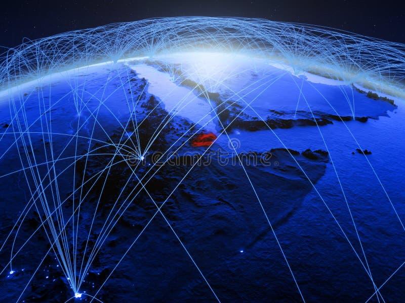 Djibouti op blauwe digitale aarde met internationaal netwerk die mededeling, reis en verbindingen vertegenwoordigen 3d stock afbeelding