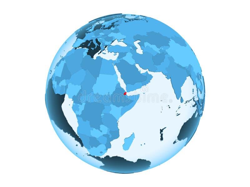 Djibouti op blauwe geïsoleerde bol royalty-vrije illustratie