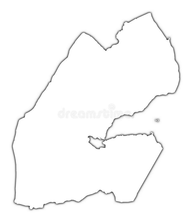 Djibouti outline map.  vector illustration