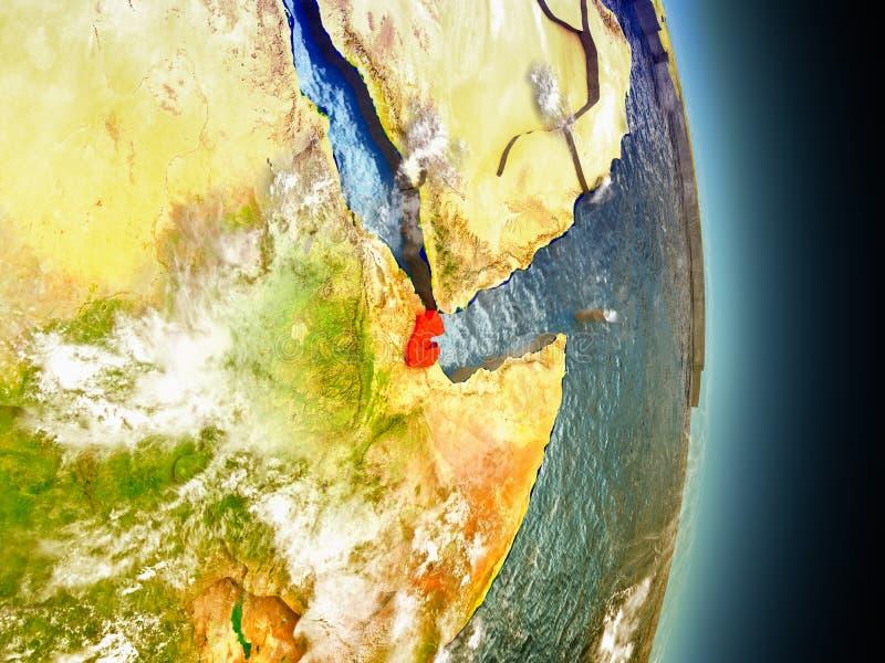 Djibouti in rood van ruimte vector illustratie