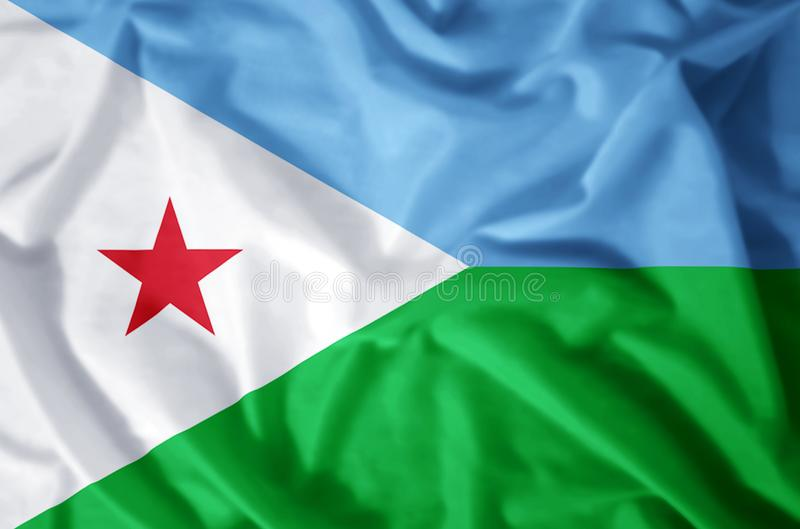 Djibouti. Stylish waving and closeup flag illustration. Perfect for background or texture purposes stock illustration
