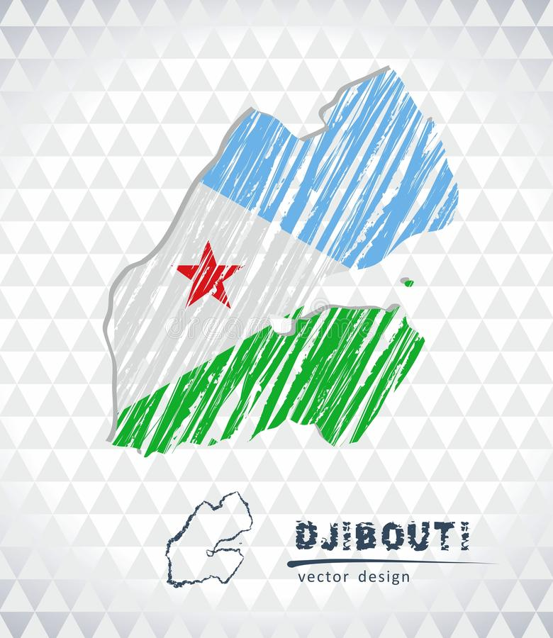 Djibouti vector map with flag inside isolated on a white background. Sketch chalk hand drawn illustration. Vector sketch map of Djibouti with flag, hand drawn royalty free illustration