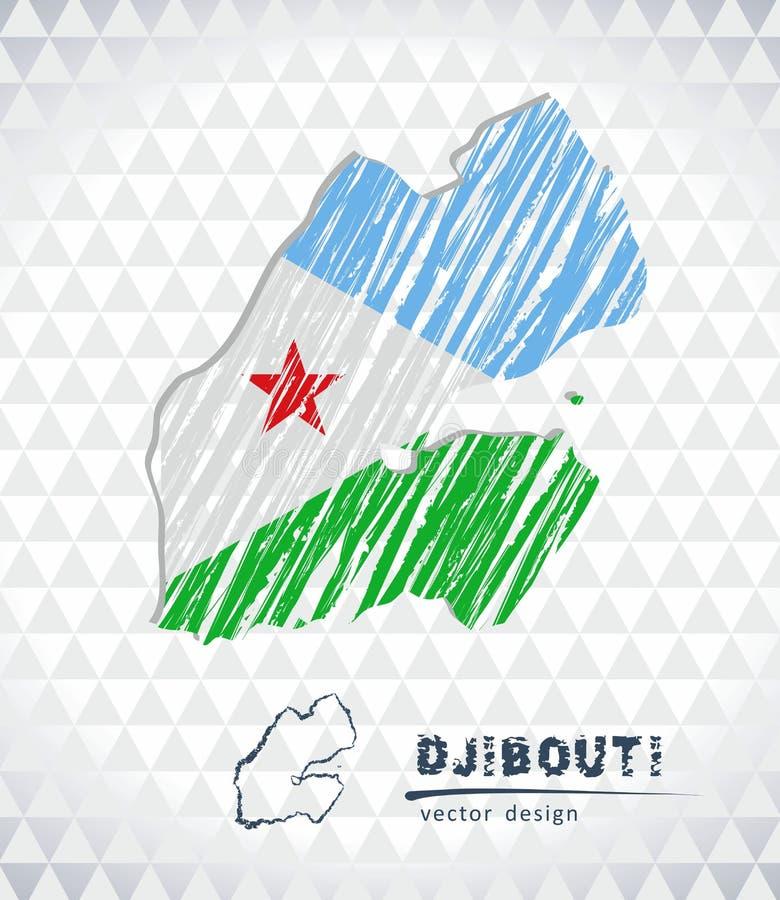 Djibouti vektoröversikt med flaggainsidan som isoleras på en vit bakgrund Skissa drog illustrationen för krita handen royaltyfri illustrationer