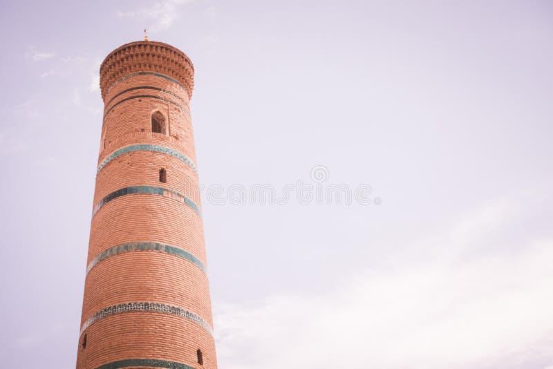Djuma Meczetowy minaret w Khiva obraz royalty free