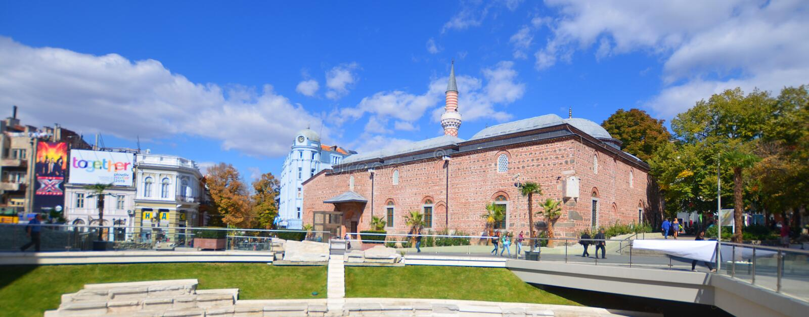 Djumaya Mosque or Ulu Mosque. PLOVDIV BULGARIA SEPT 18: Djumaya Mosque or Ulu Mosque, is a precious architectural monument in Plovdiv that gives an idea of the royalty free stock photography