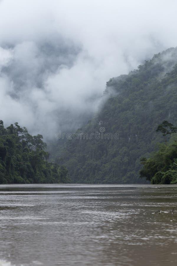 Djungel, berg och den Nam Ou floden i nordliga Laos, vertica royaltyfri foto