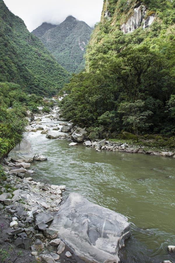 Djungel för järnvägspår korsningen och Urubamba flod, connectin arkivfoton