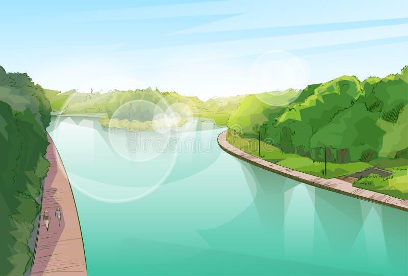 Djungel Forest Green Landscape för vattenfloddamm stock illustrationer