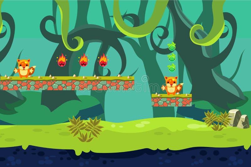 Djungellandskap med stora gröna växter, ängen, stenplattformar och roliga tecken royaltyfri illustrationer