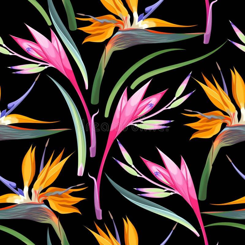 Djungeln blommar sömlöst royaltyfri illustrationer