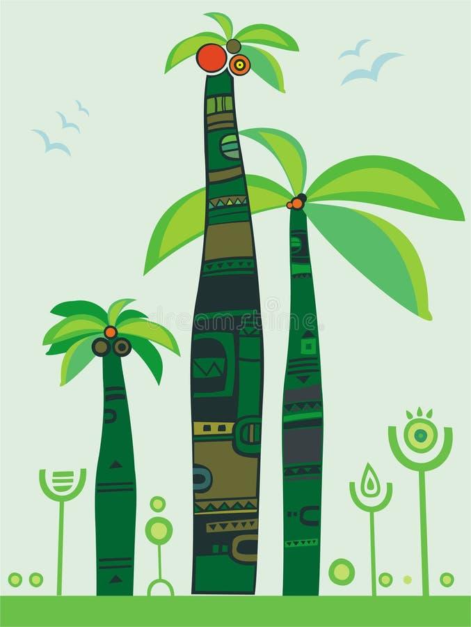 djungelpalmträd royaltyfri illustrationer
