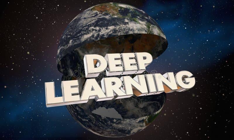 Djup lärande illustration för ord 3d för planetjordvärld stock illustrationer