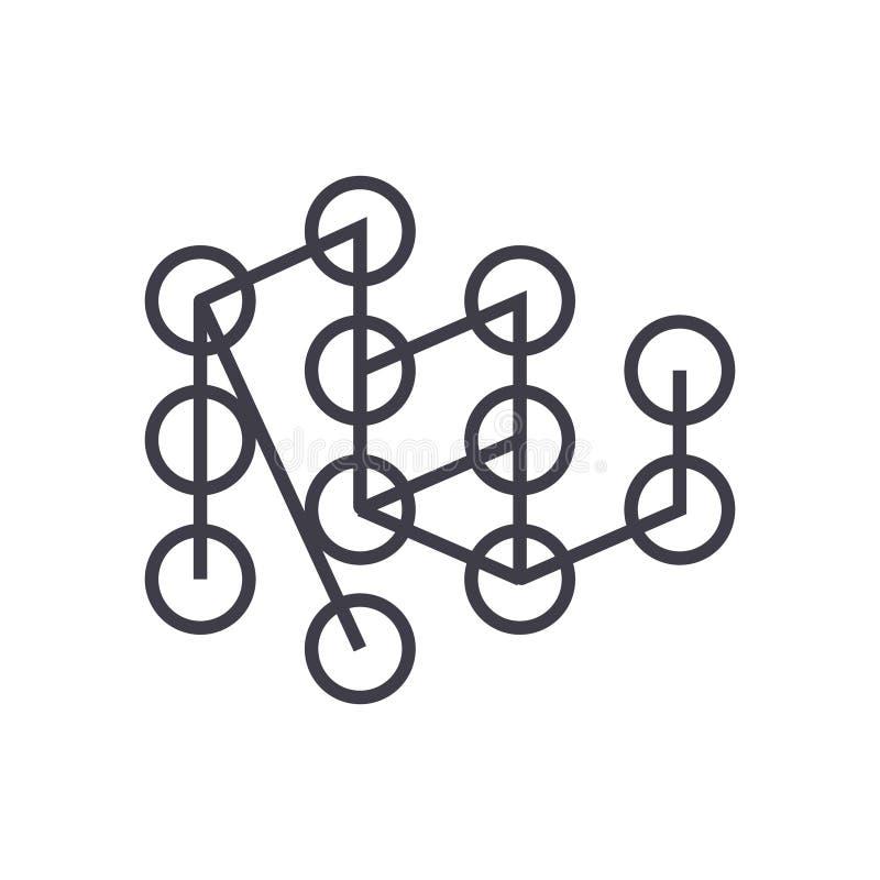 Djup lärande linjär symbol för begrepp, tecken, symbol, vektor på isolerad bakgrund royaltyfri illustrationer