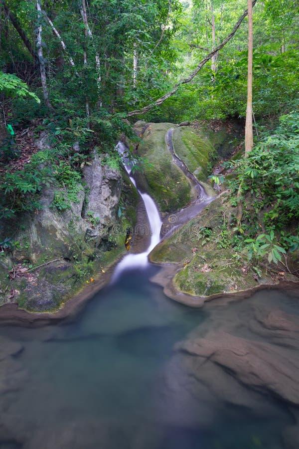 Djup skogvattenfall i Thailand