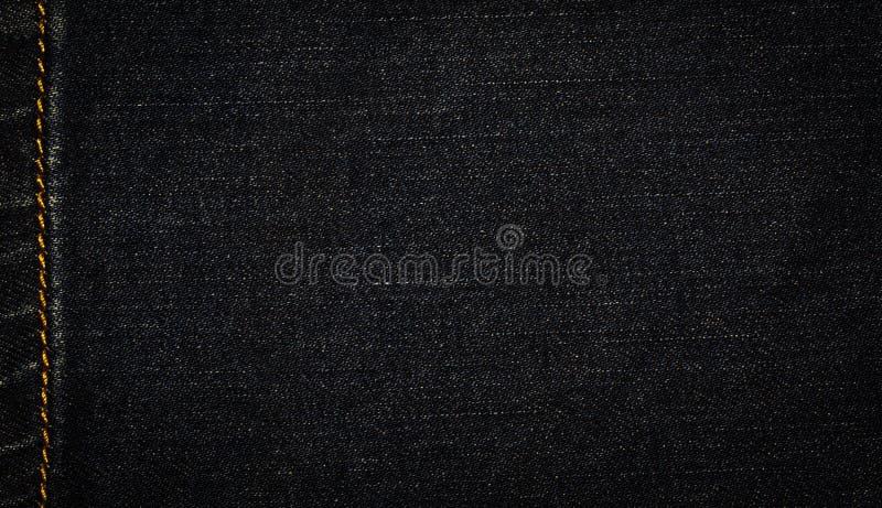 Djup svart grov bomullstvill, jeanstextur royaltyfri bild