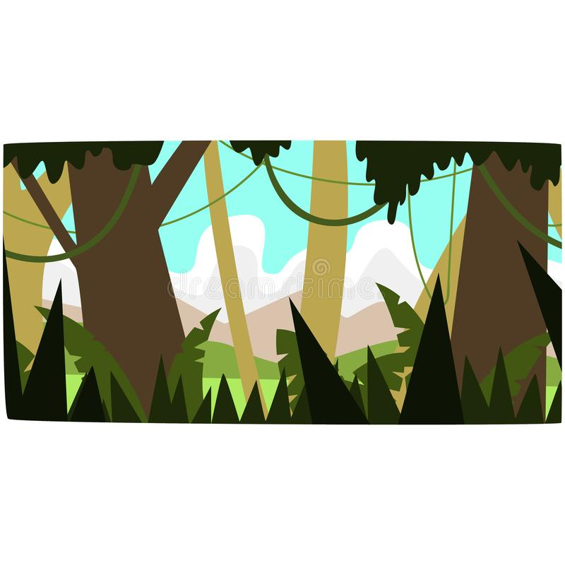 Djup tropisk djungelbakgrund, tropiskt rainforestlandskap i en illustration för dagtidvektor stock illustrationer