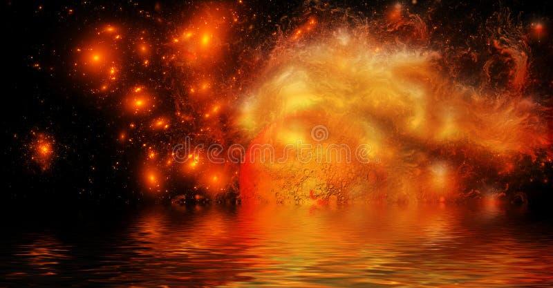 Djup yttre rymd med den brinnande planeten royaltyfri illustrationer