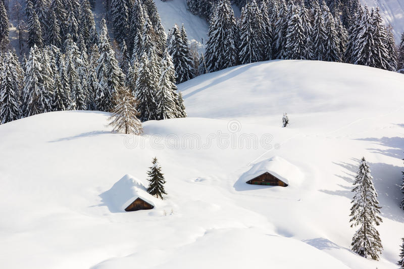 Djupa insnöade fjällängar, Berchtesgaden, Bayern, Tyskland royaltyfri bild