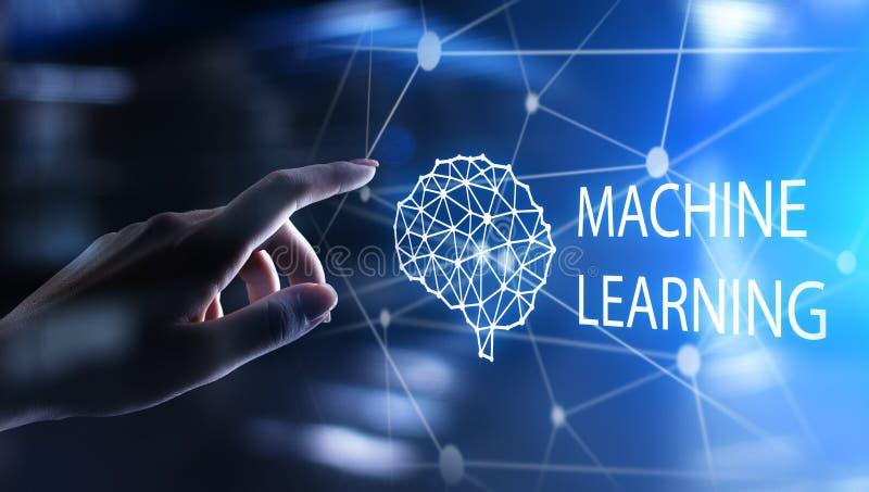 Djupa l?rande algoritmer f?r maskin och konstgjord intelligens f?r AI Internet- och teknologibegrepp p? den faktiska sk?rmen royaltyfri illustrationer
