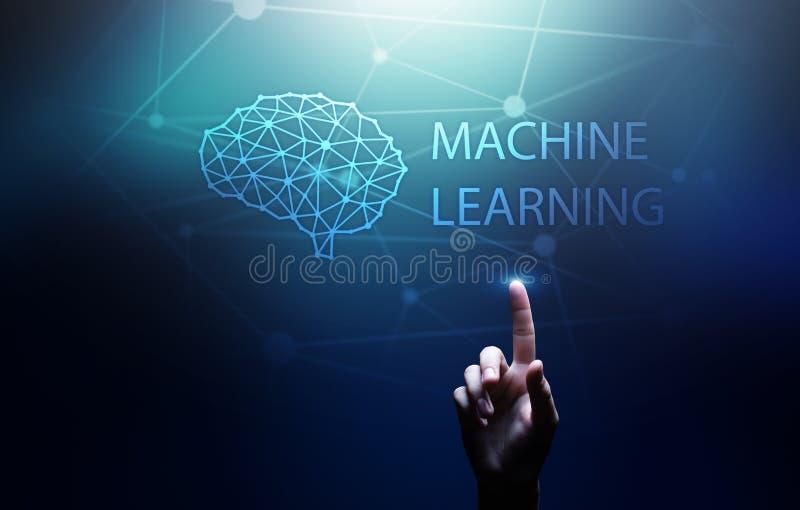 Djupa l?rande algoritmer f?r maskin och konstgjord intelligens f?r AI Internet- och teknologibegrepp p? den faktiska sk?rmen royaltyfri foto