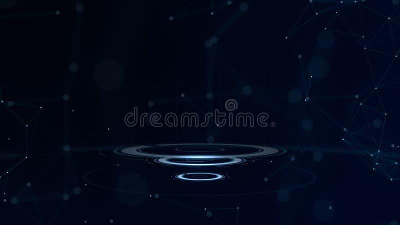 djupblå färg Glintgalax abstrakt cirklar Driva energi Ilsken blickband lysande cirkel Kosmisk abstrakt ram för neonljus vektor illustrationer