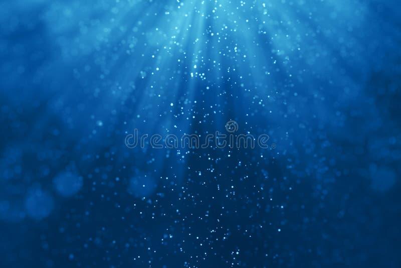 Djupblå havvågor från undervattens- bakgrund med partiklar stock illustrationer