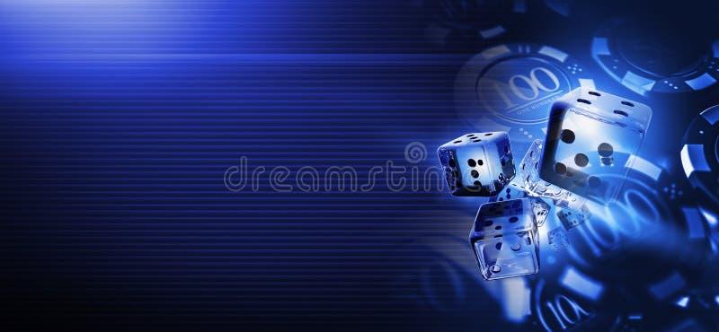 Djupblå kasinoskitar tärnar stock illustrationer