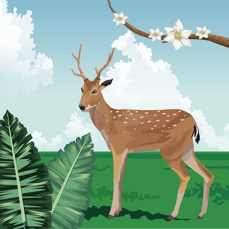 Djupblommor lämnar landskapet tropisk fauna och flora vektor illustrationer