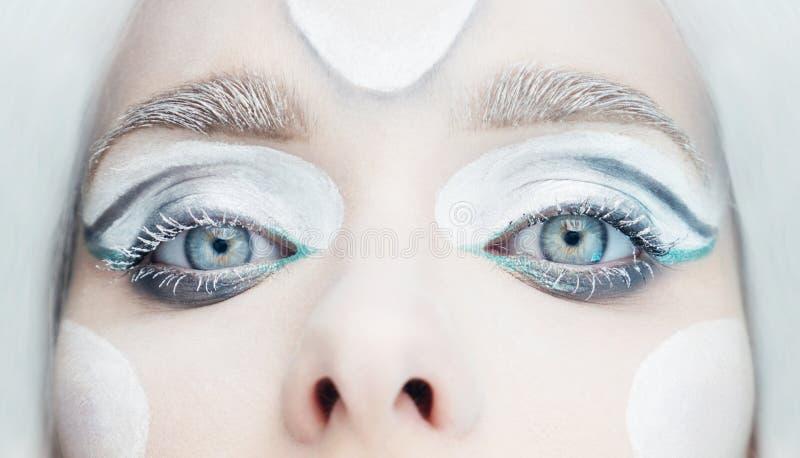 Djupfryst ögonmakeupcloseup fotografering för bildbyråer