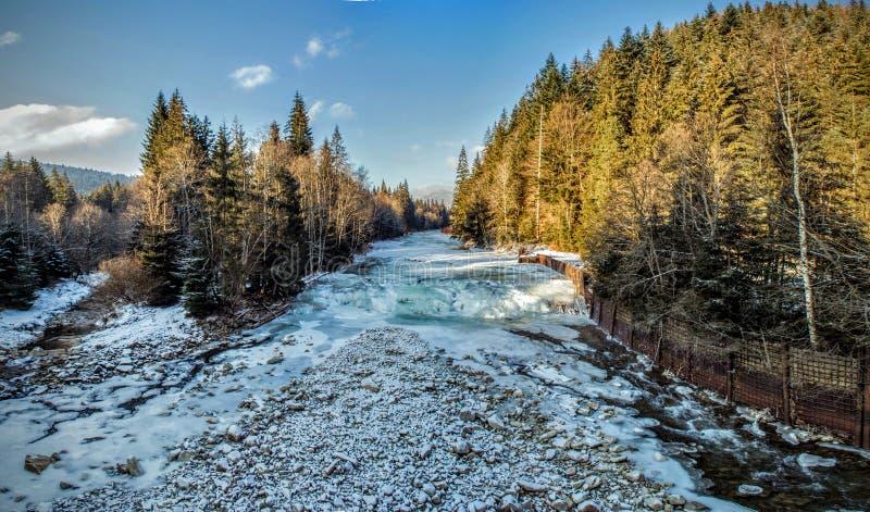 djupfryst flod royaltyfri foto