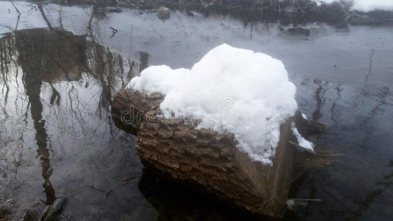 Djupfryst flod i Ukraina royaltyfria bilder