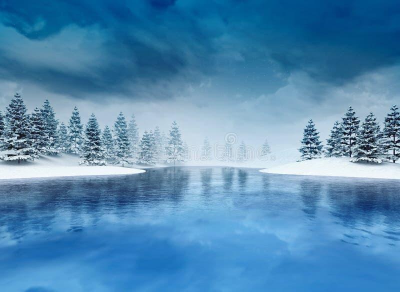 Djupfryst lough med träd och molnig himmel vektor illustrationer