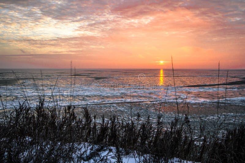 Djupfryst Seascape för Great Lakes vintersoluppgång arkivbild