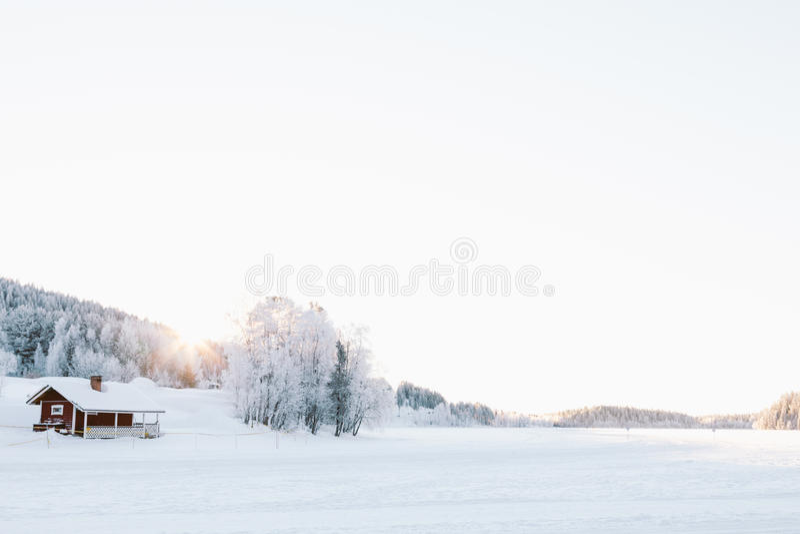 Djupfryst sjö i Lapland arkivbilder