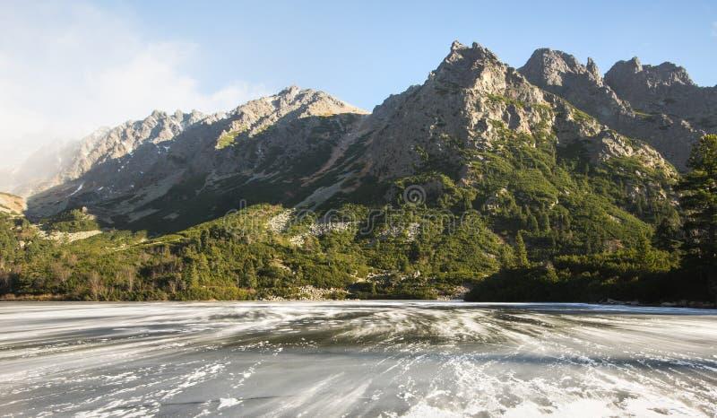 Djupfryst sjö i Slovakien i höst fotografering för bildbyråer